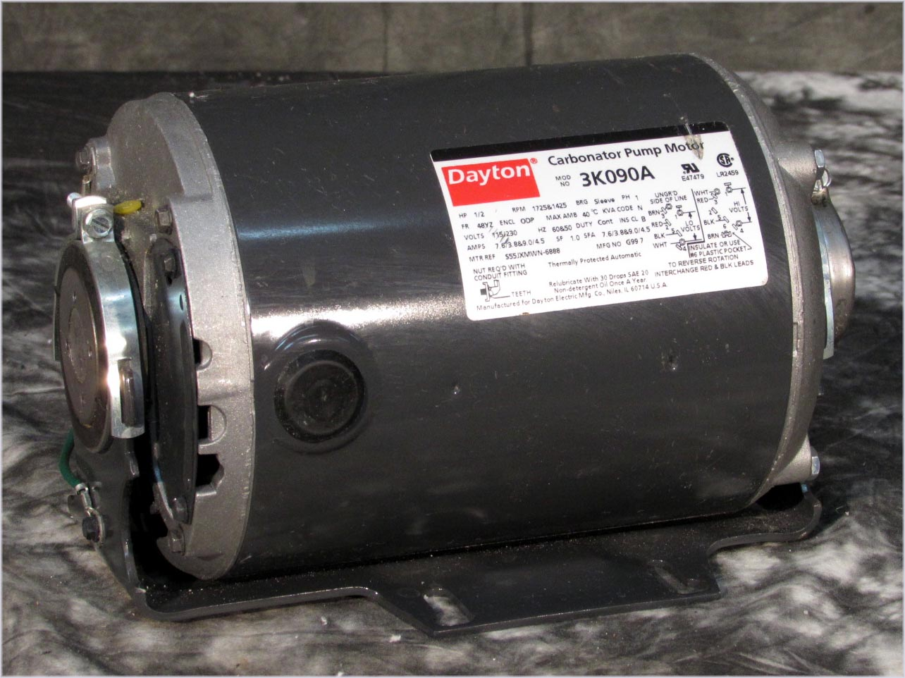 Dayton 3k090a Carbonator Pump Motor Teel 2p386 A 1 2hp